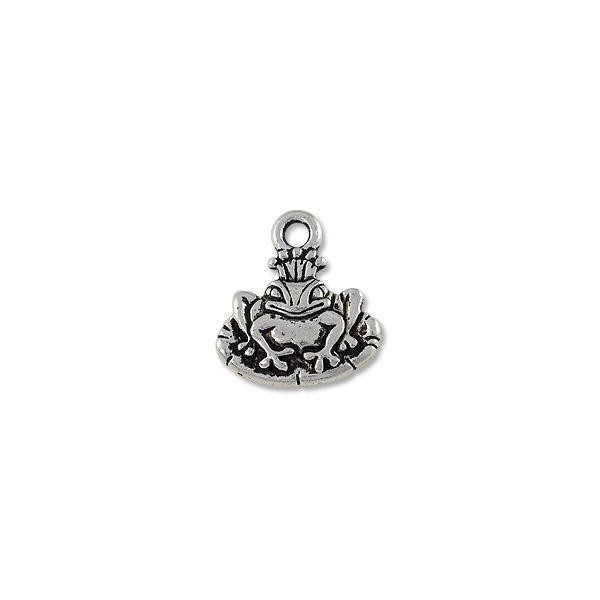 TierraCast Charm - Frog Prince 15x17mm Pewter Antique Silver Plated (1-Pc)