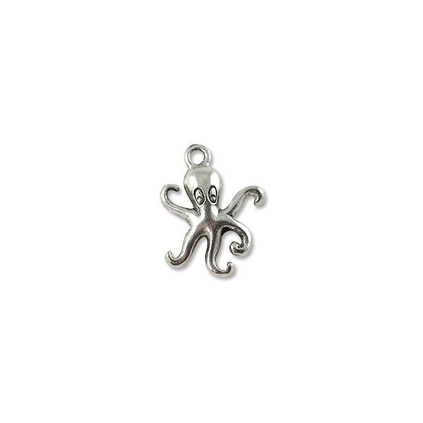 Charm - Octopus 20x15mm Pewter Antique Silver Plated (1-Pc)