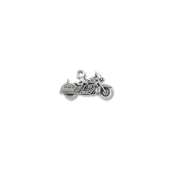 Motorcycle Charm 13x24mm Pewter Antique Silver Plated (1-Pc)