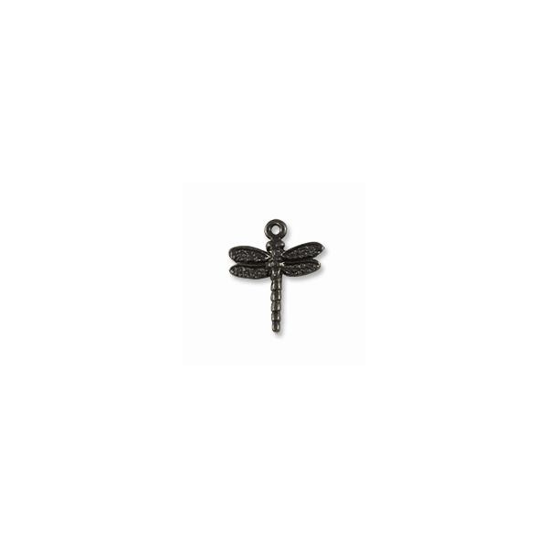 TierraCast Charm - Dragonfly 16mm Pewter Gunmetal Plated (1-Pc)