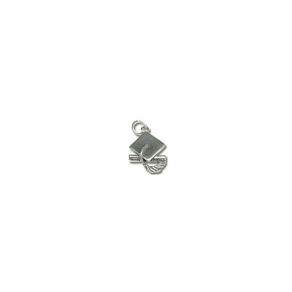 Graduation Hat Charm 17x13mm Sterling Silver (1-Pc)