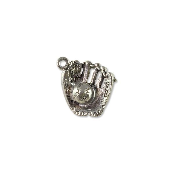 Baseball Glove and Ball Charm 16x20mm Pewter Antique Silver Plated (1-Pc)