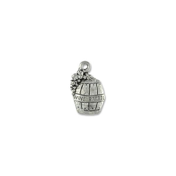 Wine Barrel Charm 11x6mm Pewter Antique Silver Plated (1-Pc)
