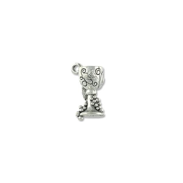Goblet Charm 15x7mm Pewter Antique Silver Plated (1-Pc)