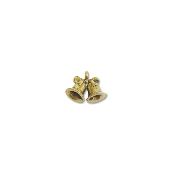 Charm - Wedding Bells 12x17mm Pewter Antique Gold Plated (1-Pc)