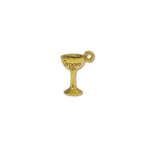Groom Glass Charm 14x9mm Pewter Antique Gold Plated (1-Pc)