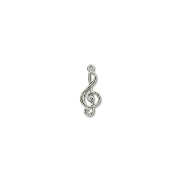 Charm - Treble 23x11mm Pewter Antique Silver Plated (1-Pc)