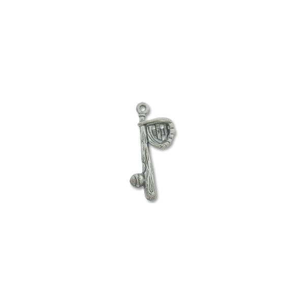 Baseball Bat Charm 25x10mm Pewter Antique Silver Plated (1-Pc)