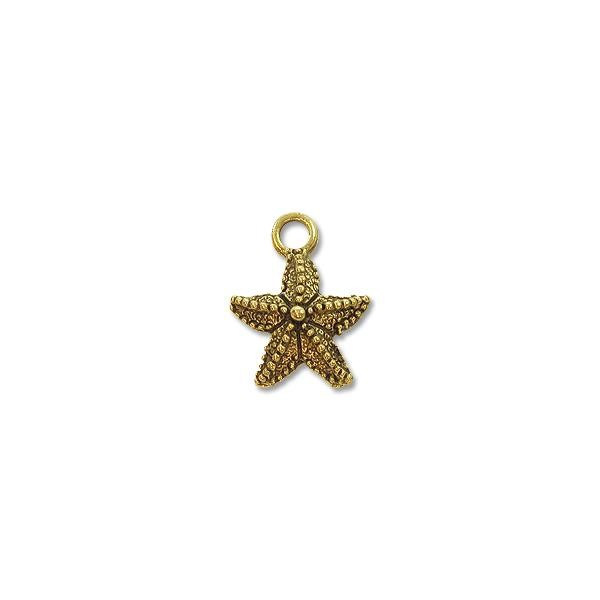 Starfish Charm 12mm Pewter Antique Gold Plated (1-Pc)