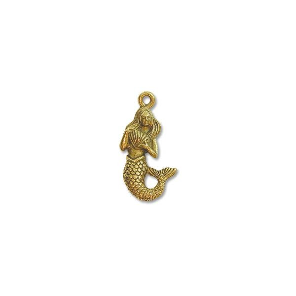 Mermaid Charm 19x12mm Pewter Antique Gold Plated (1-Pc)