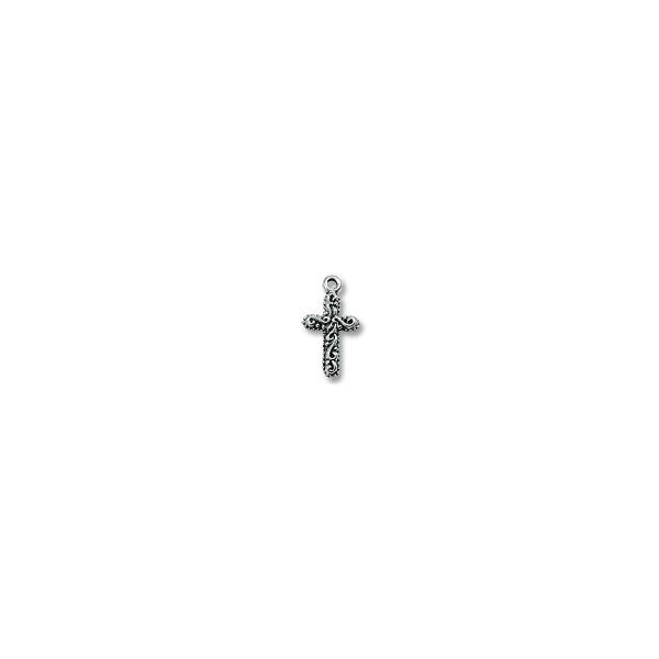 Decorated Cross Pendant 16x11mm Pewter Antique Silver Plated (1-Pc)