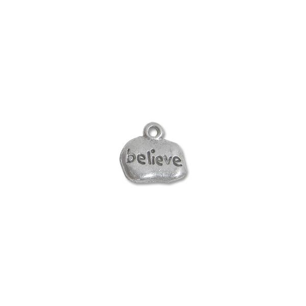 Believe Charm 9x12mm Pewter Antique Silver Plated (1-Pc)
