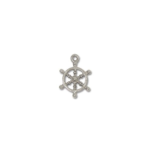 Charm - Ship's Wheel 14x13mm Pewter Antique Silver Plated (1-Pc)