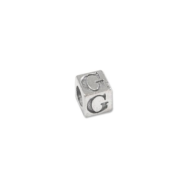 "Alphabet Bead 5mm ""G"" Pewter Silver Plated Large Hole (1-Pc)"