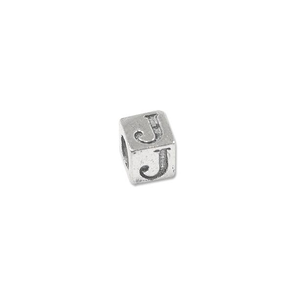 "Alphabet Bead 5mm ""J"" Pewter Silver Plated Large Hole (1-Pc)"