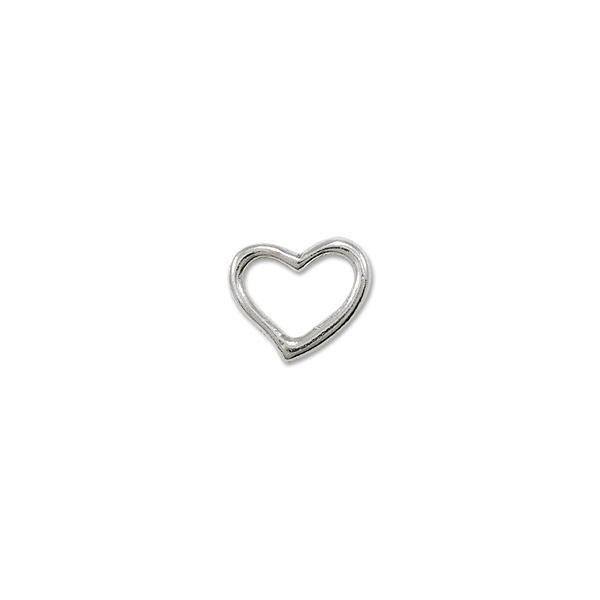 Connector - Heart 16x19mm Pewter Silver Plated (1-Pc)
