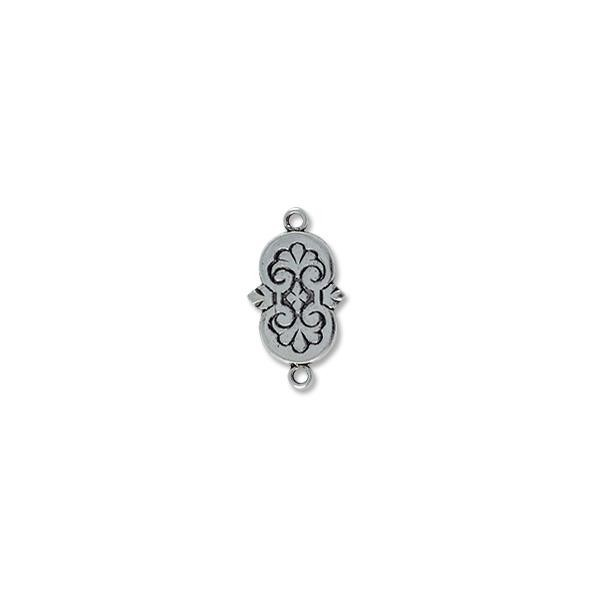 Connector - Antique Sterling Silver Plated 20x11mm (1-Pc)
