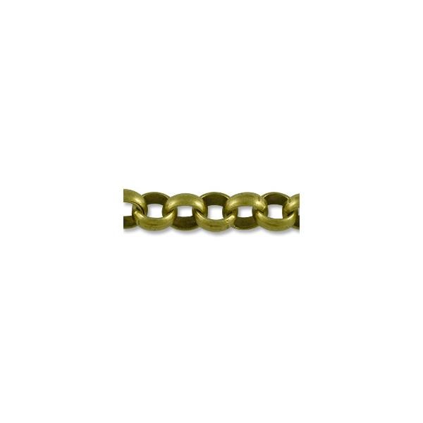 Rolo Link Chain 7mm Antique Brass Plated (Priced per Foot)