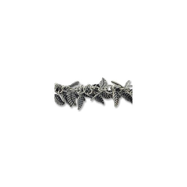 Leaf Link Chain 8x3mm Antique Silver Plated (Priced per Foot)