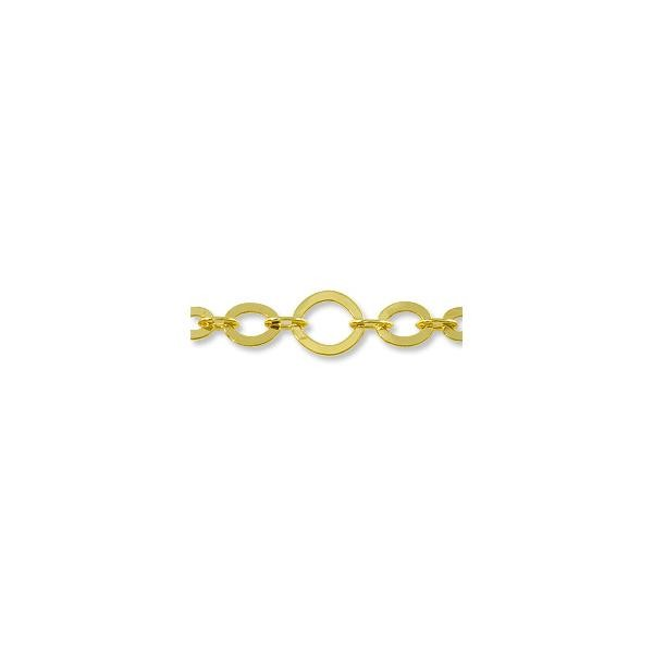 Five Ring Oval Link Chain 10mm Gold Plated (Priced per Foot)