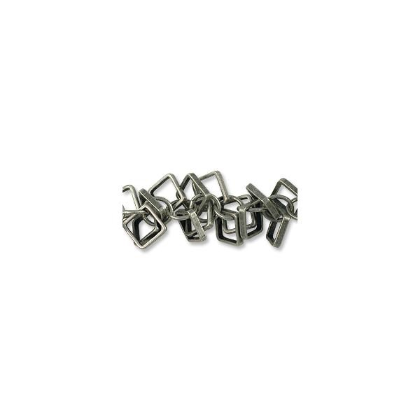 Chain Square Charm Link 5mm Antique Silver Plated (Priced per Foot)