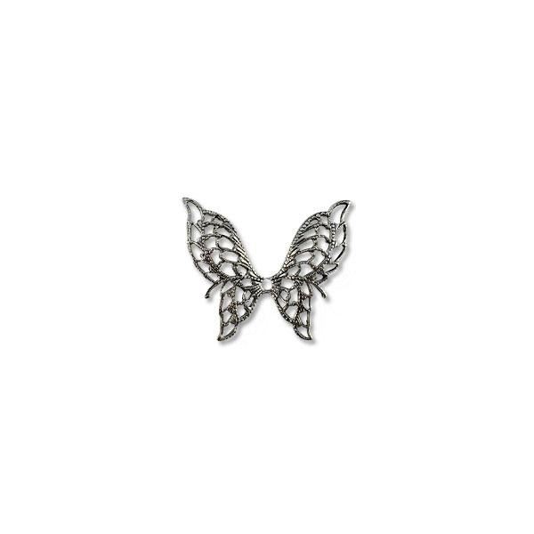 Filigree Butterfly Connector Silver Plated 32x38mm (1-Pc)
