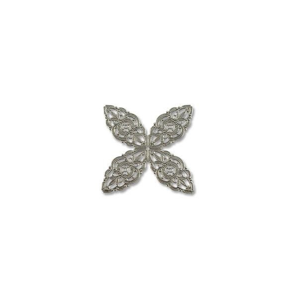 Filigree Clover Connector Silver Plated 48mm (1-Pc)