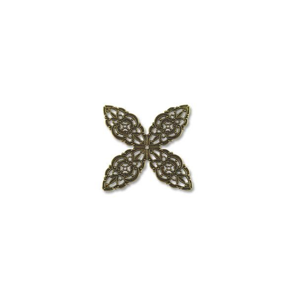 Filigree Clover Connector Antique Brass Plated 48mm (1-Pc)