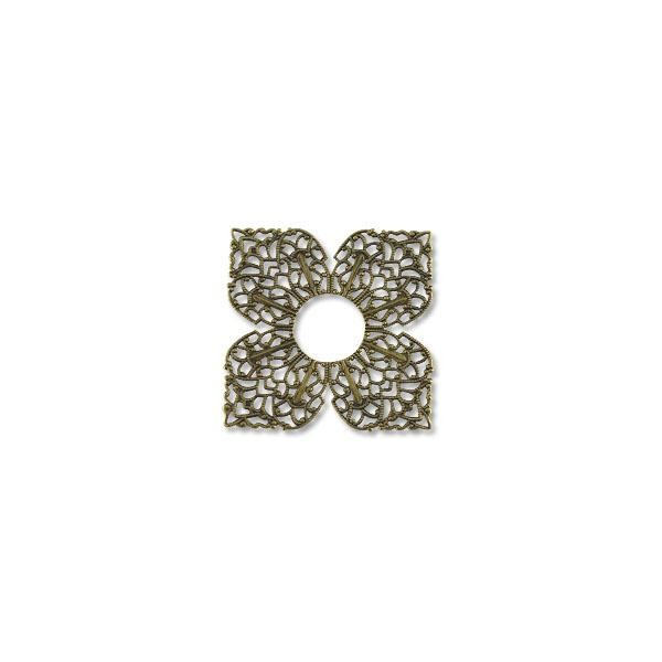 Filigree Clover Connector Antique Brass Plated 42mm (1-Pc)