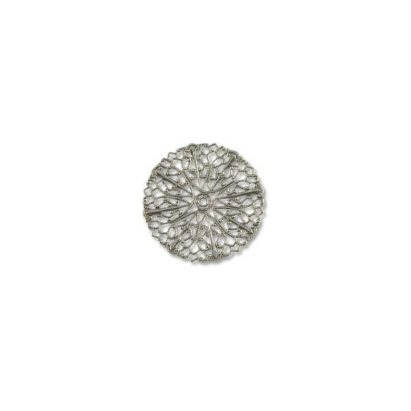 Connector - Filigree Disc 36mm Silver Plated (1-Pc)