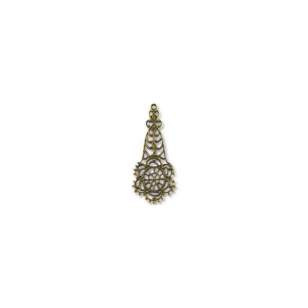 Filigree Drop Connector Antique Brass Plated 45x19mm (1-Pc)
