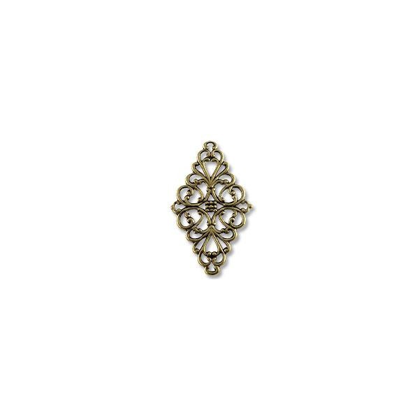 Connector - Filigree Diamond 45x25mm Antique Brass Plated (1-Pc)