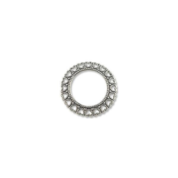 Connector - Circle Heart 34mm Silver Plated (1-Pc)