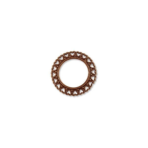 Connector - Circle Heart 34mm Antique Copper Plated (1-Pc)