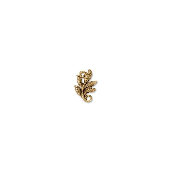 Leaf Connector Pewter Antique Gold Plated 8x13mm (1-Pc)