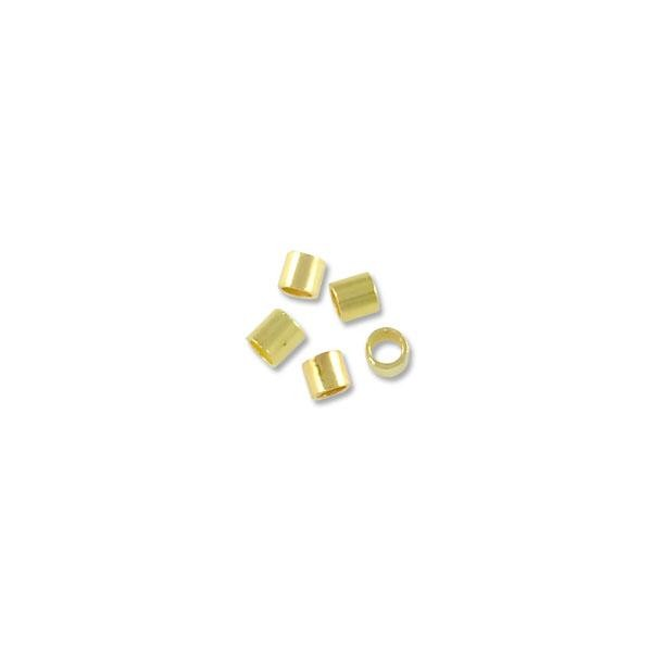 Crimp Tube 2x2mm Seamless Gold Plated (10-Pcs)