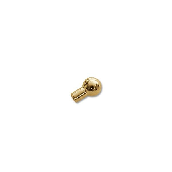 5x2mm Gold Plated Crimp Tube End with Bead (10-Pcs)
