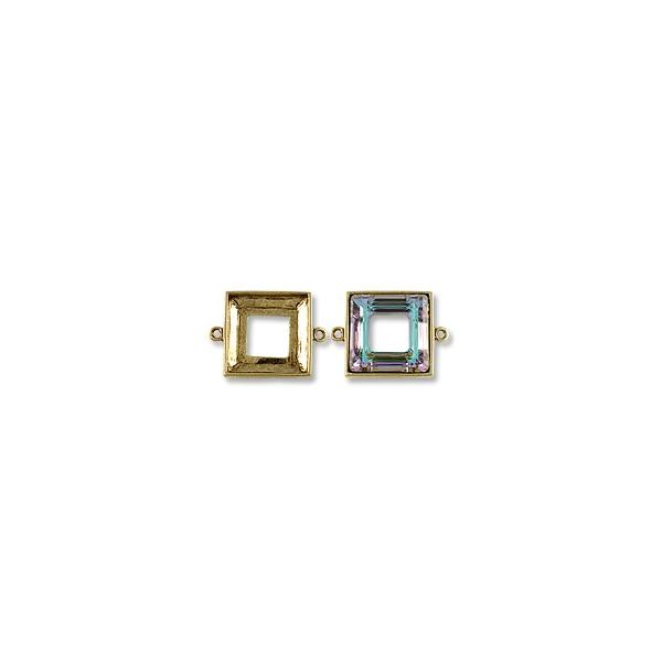 Square Cosmic Ring Setting 2-Loop 20mm Pewter Antique Gold Plated (1-Pc)
