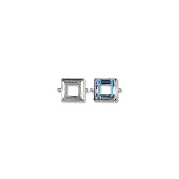 Square Cosmic Ring Setting 2-Loop 20mm Pewter Antique Silver Plated (1-Pc)