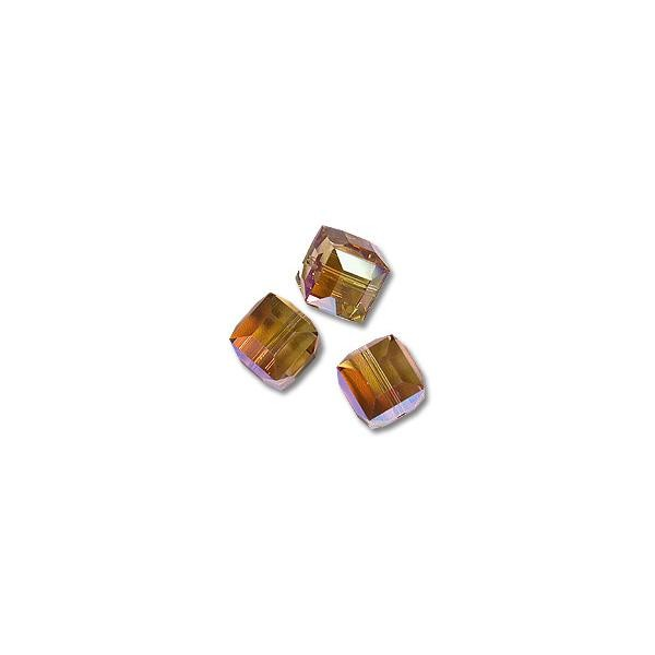 Swarovski Cube Beads 5601 6mm Light Colorado Topaz AB (1-Pc)