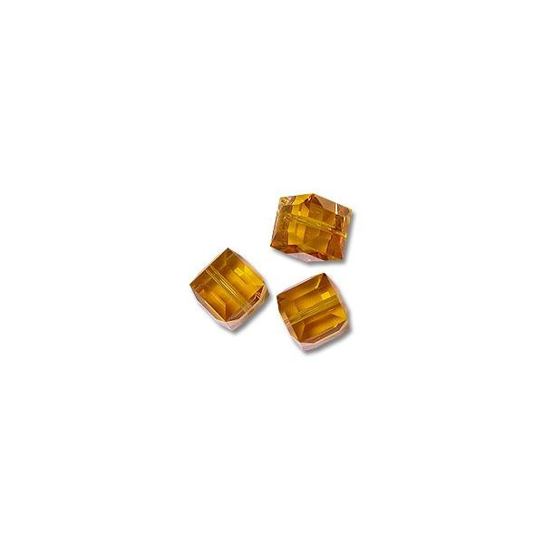 Swarovski Cube Beads 5601 8mm Topaz (1-Pc)