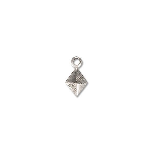 Diamond Drop 7x4.5mm Brass Antique Sterling Plated (10-Pcs)