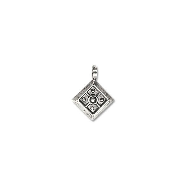 Mini Charm - Drop w/Open Loop 10x10mm  Antique Sterling Plated (6-Pcs)