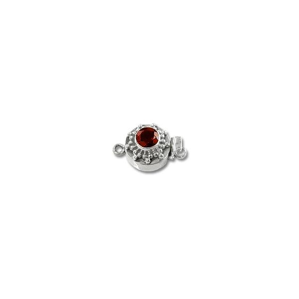 Designer Clasp with Garnet 12mm Sterling Silver (1-Pc)