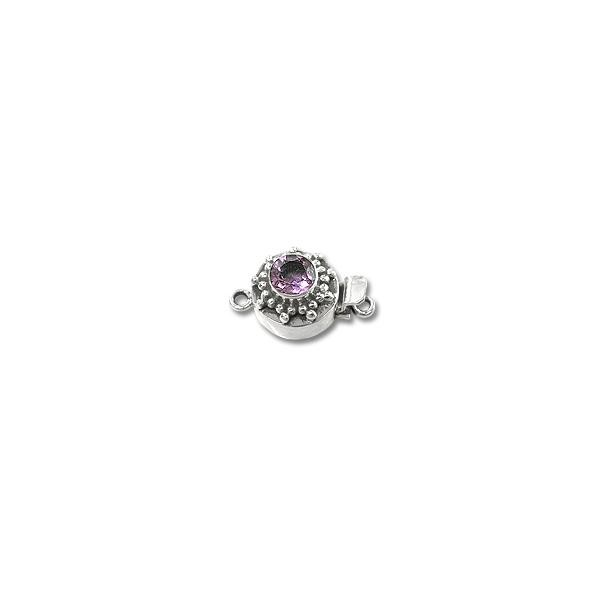 Designer Clasp with Amethyst 12mm Sterling Silver (1-Pc)