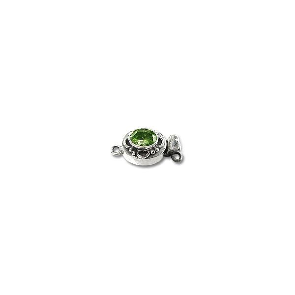 Designer Oval Clasp with Peridot 21x11mm Sterling Silver (1-Pc)