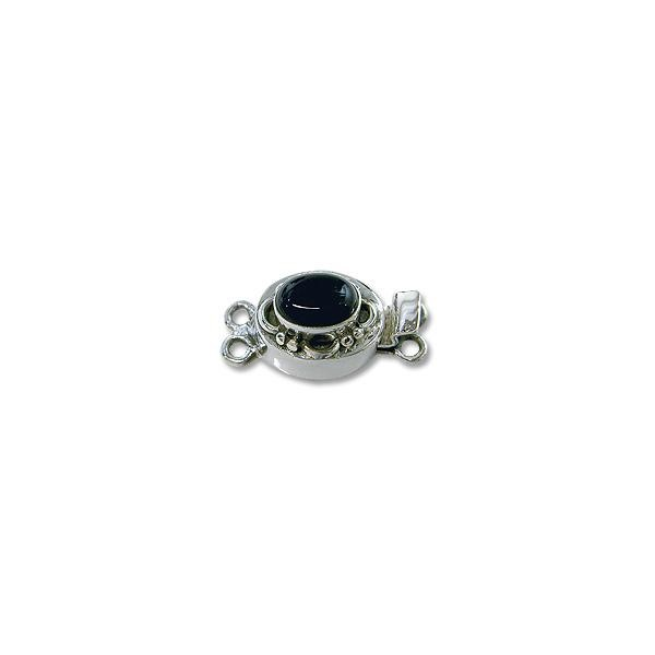 Designer Clasp with Black Onyx 20mm 2-Strand Sterling Silver (1-Pc)