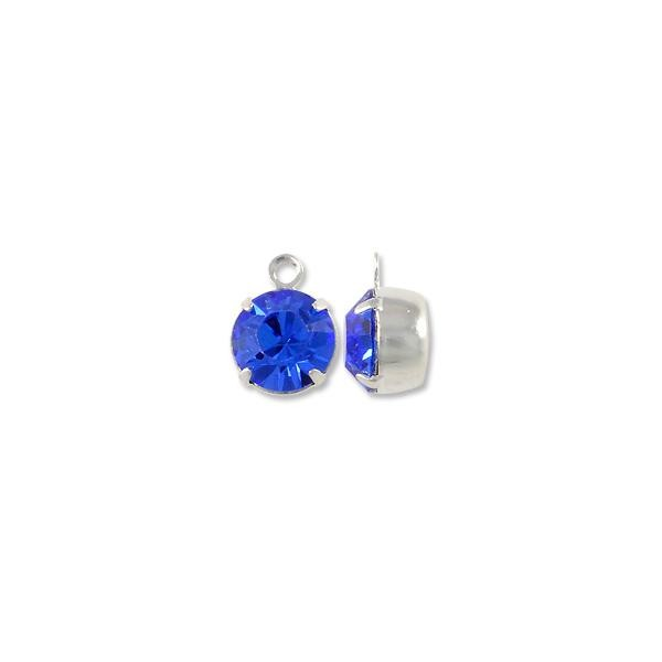 Swarovski Round Drop 8mm Sapphire Rhodium Plated (1-Pc)