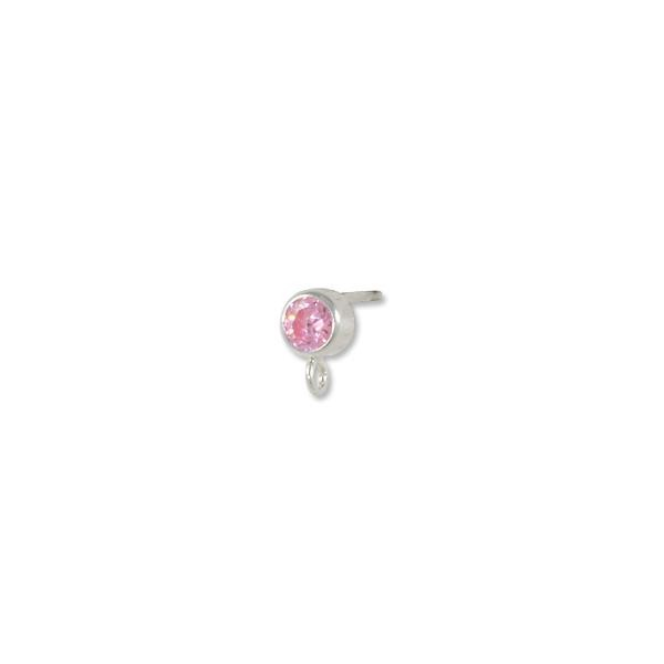 Earring with 4mm Pink Cubic Zirconia Stone Sterling Silver (1-Pc)