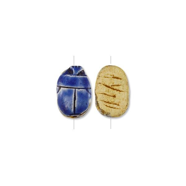 "Egyptian Scarab Pendant Bead 1-1/2"" x 1"" Cobalt Blue Glaze (1-Pc)"